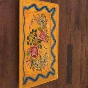 Decorative painted wooden tray